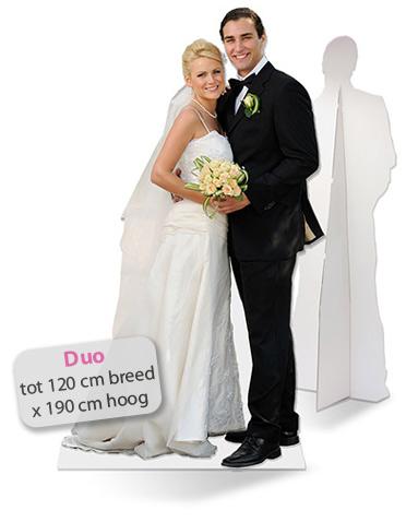 Lifesizers Duo, Een levensgrote trouwfoto op karton als fotopaneel met twee personen