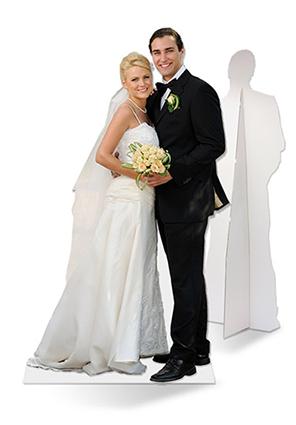 lifesizers DUO is breed foto paneel met uitgesneden levensgrote trouwfoto of meerdere personen